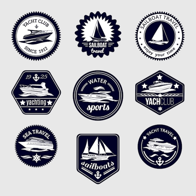 Elite world water sport yacht club sailboat sea\ travel design labels set black icons isolated vector\ illustration