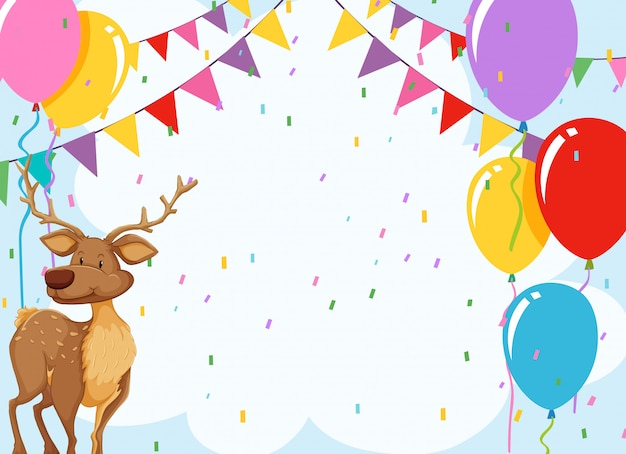 Elk in birthday invitation card with copyspace Free Vector