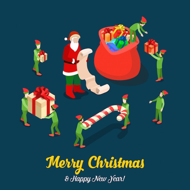 Elves help santa claus fill bag with gifts. merry christmas isometric vector illustration. Free Vector