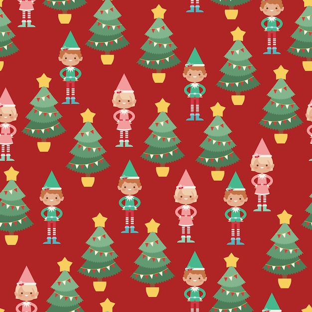 Elves vector seamless pattern Premium Vector