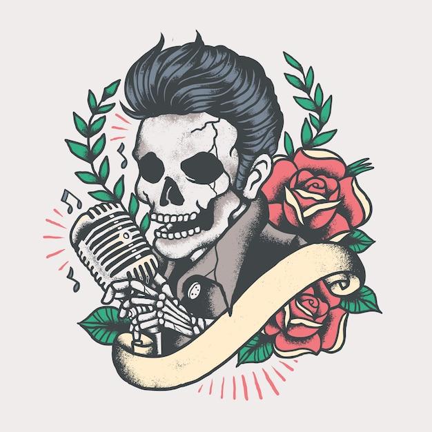 Elvis skull musician tattoo vintage Premium Vector