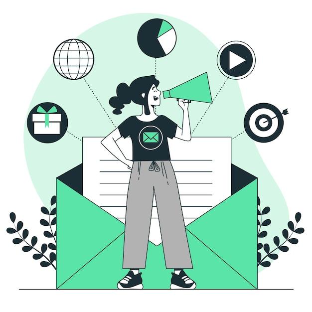 Illustrazione di concetto di campagna e-mail Vettore gratuito