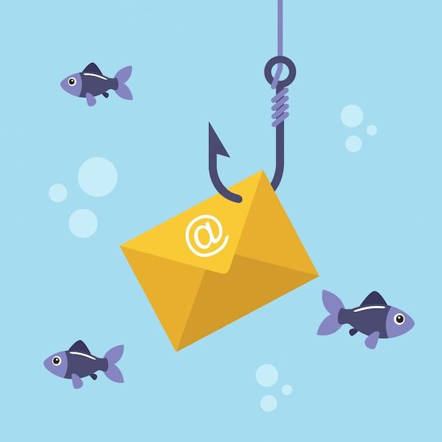 Email envelope on fishing hook Premium Vector