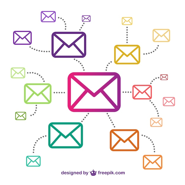 Email icons connected Free Vector