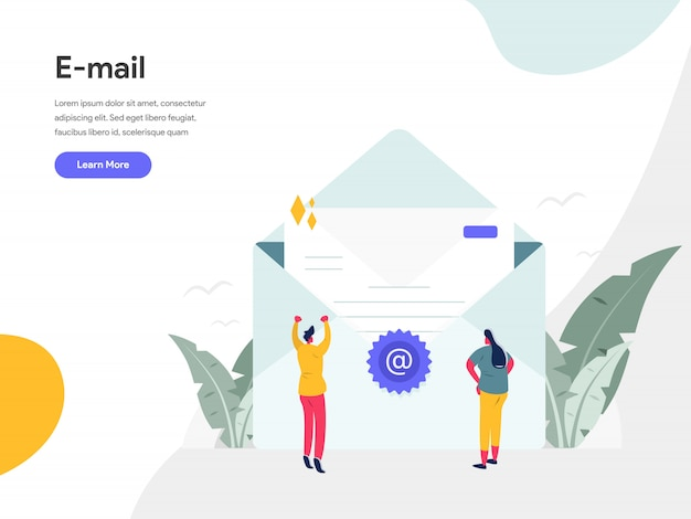 Email illustration concept Premium Vector