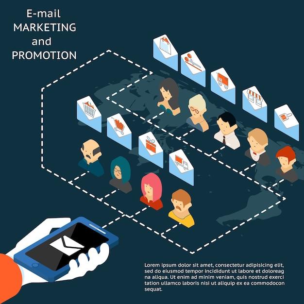 Концепция приложения для электронного маркетинга и продвижения с векторной иллюстрацией бизнесмена, держащего мобильный телефон или планшет, рассылающего людям пачку писем в конвертах, содержащих значки коммерции Бесплатные векторы