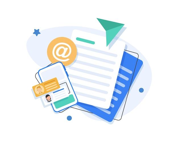Email marketing campaign flat illustration Premium Vector
