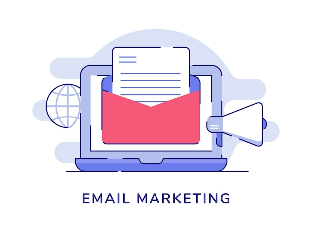 Email marketing concept email on display laptop monitor globe megaphone white isolated background Premium Vector