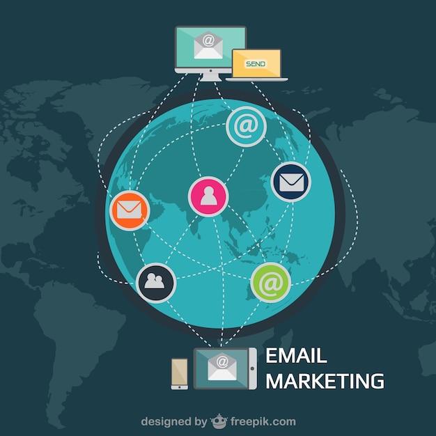 بازاریابی پست الکترونیک اینفوگرافیک با آیکون های کاربران
