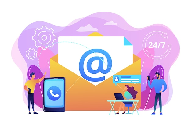 Email marketing, internet chatting, 24 hours support. get in touch, initiate contact, contact us, feedback online form, talk to customers concept. Free Vector