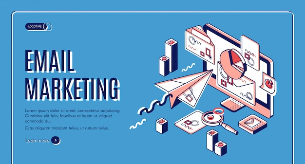 Email marketing landing page, spammer services Free Vector