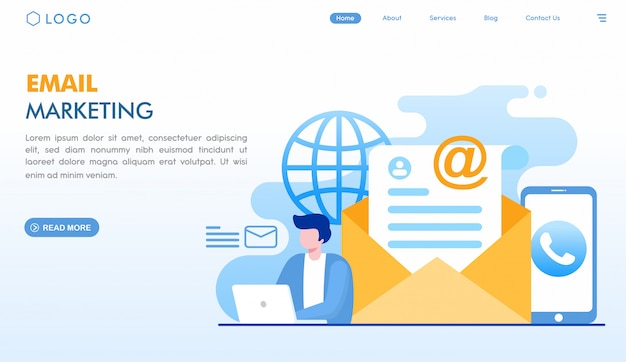 Email marketing landing page Premium Vector