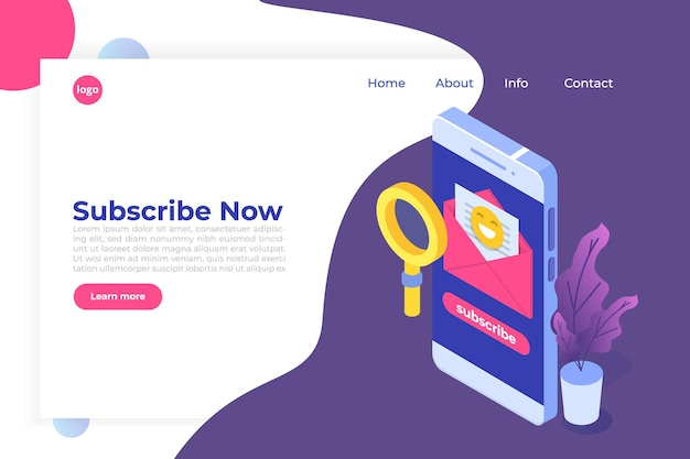 Email marketing, subscribe concept Premium Vector