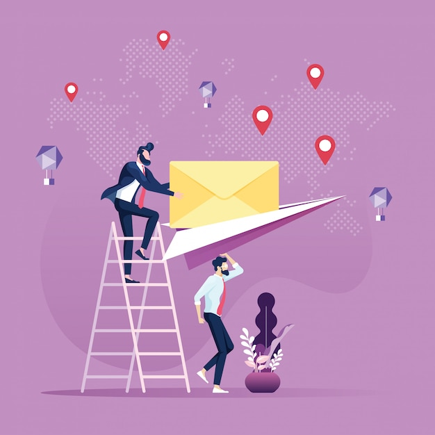 Email and message sending businessman sent mail by paper airplane Premium Vector