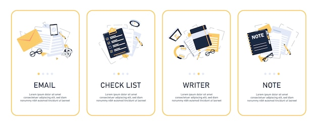 Email and messaging card set Premium Vector