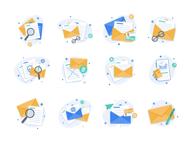 Email and messaging illustration Premium Vector