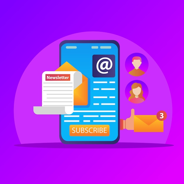 Email on mobile phone, mobile newsletter marketing, business email marketing. Premium Vector