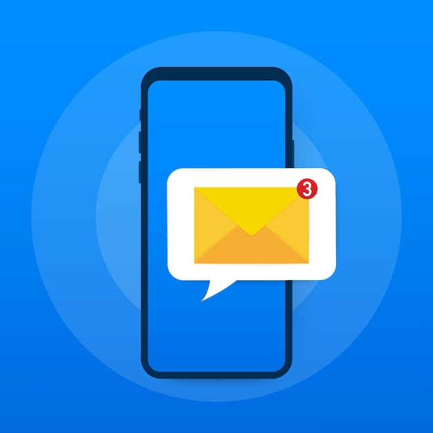 Email notification concept. new email on the smart phone screen. Premium Vector