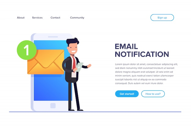 Email notification landing page Premium Vector