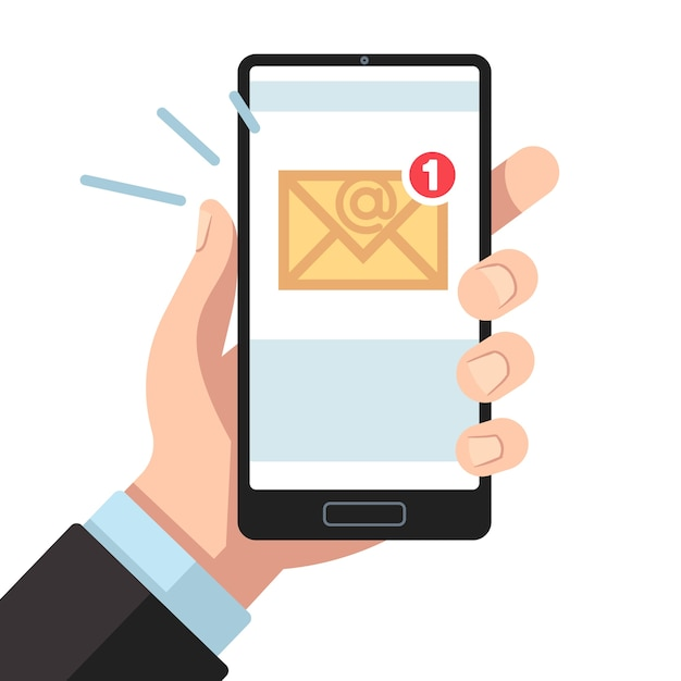 Email notification on smartphone in hand. inbox unread mail, new emails message. Premium Vector