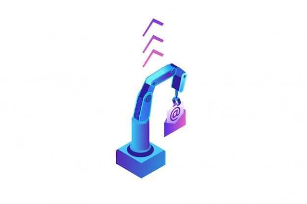 Автоматизация электронной почты, роботизированная рука, держащая сообщение Premium векторы