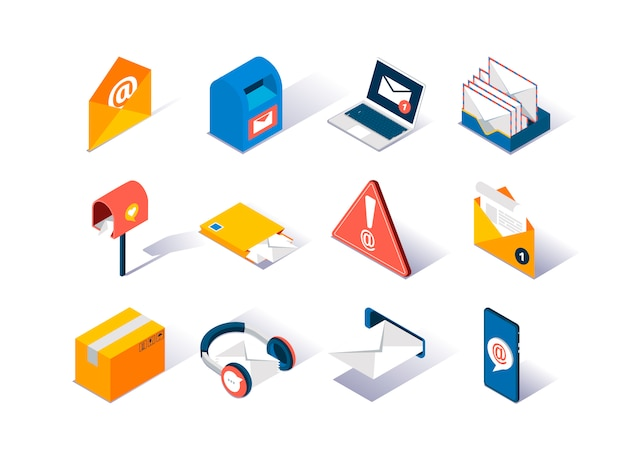 Email service provider isometric icons set. | Premium Vector