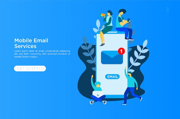 Email services illustration Premium Vector
