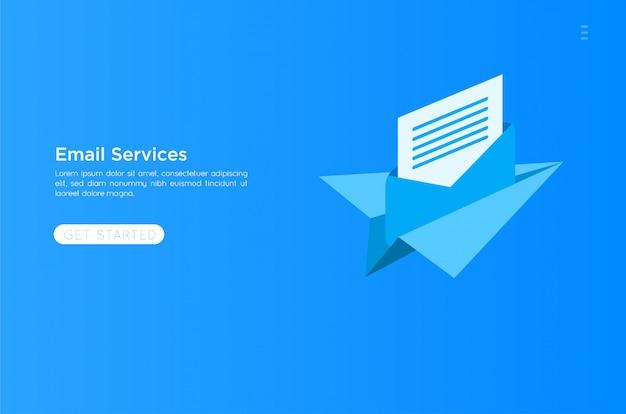 Email services illustration Premium Vector