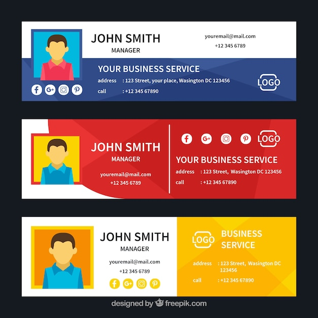 Email signature collection in flat style Free Vector