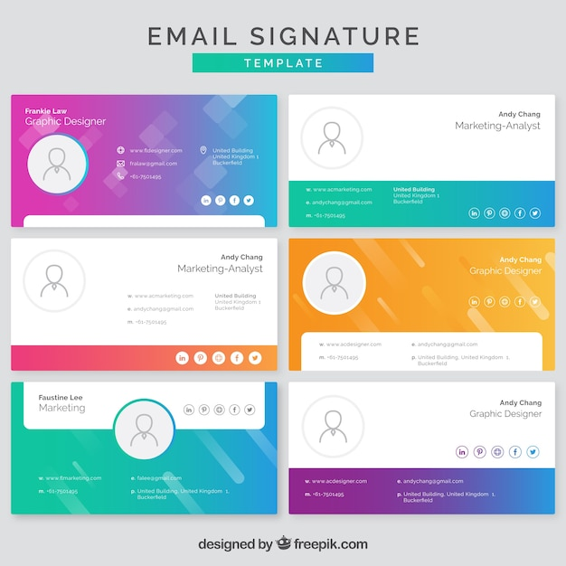 Email signature collection in gradient colors Free Vector