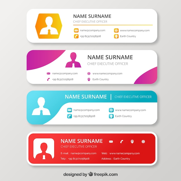Email signature collection in gradient style Free Vector