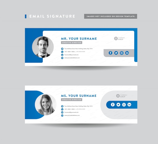 Premium Vector Email Signature Template Design Email Footer Personal Social Media Cover