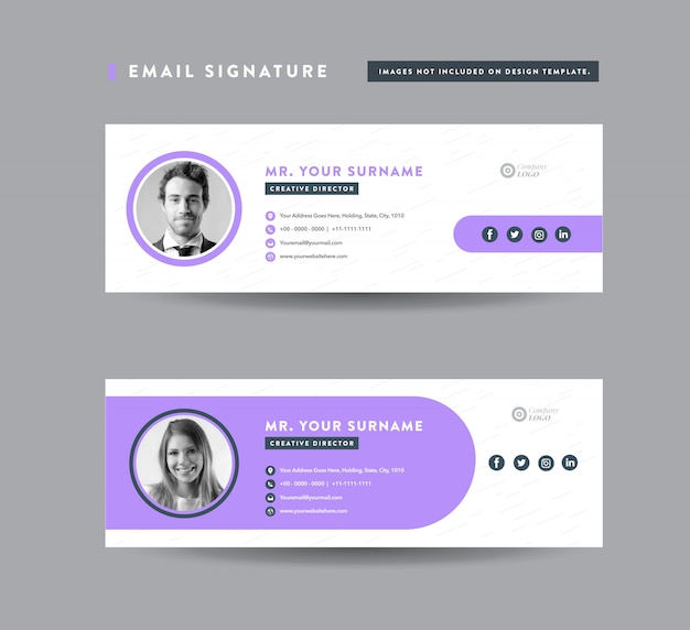 Email signature template design   email footer   personal social media cover Premium Vector