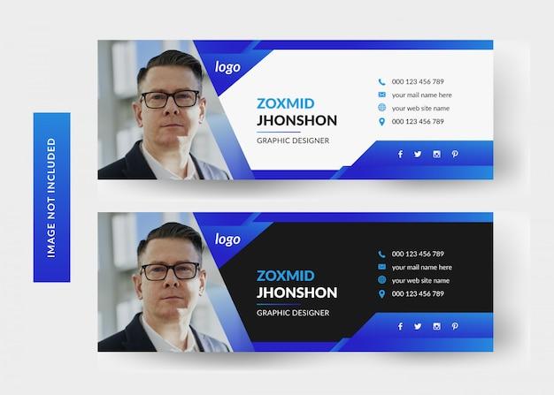 Email signature template design | personal social media cover Premium Vector