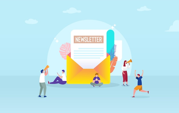 Email subscribe illustration concept, email marketing system, people use smartphone and subscribe and received newsletter Premium Vector