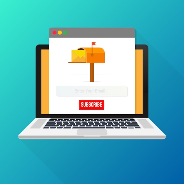 Email subscribe, online newsletter vector template with mailbox and submit button on laptop screen. Premium Vector