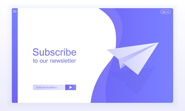 Email subscribe, online newsletter vector template with plane and submit button for website. Premium Vector
