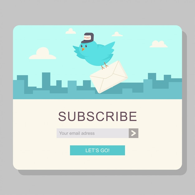 Email subscription with blue bird postman and paper letter Premium Vector