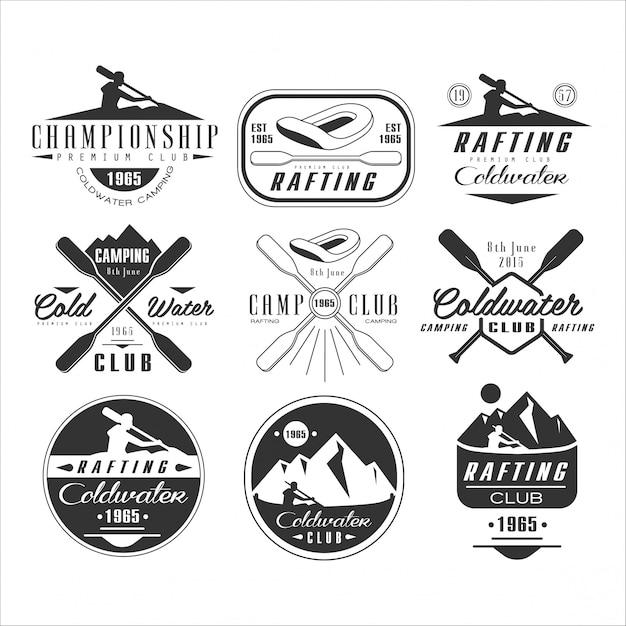 Emblem, badge and logo kayak and canoe Premium Vector