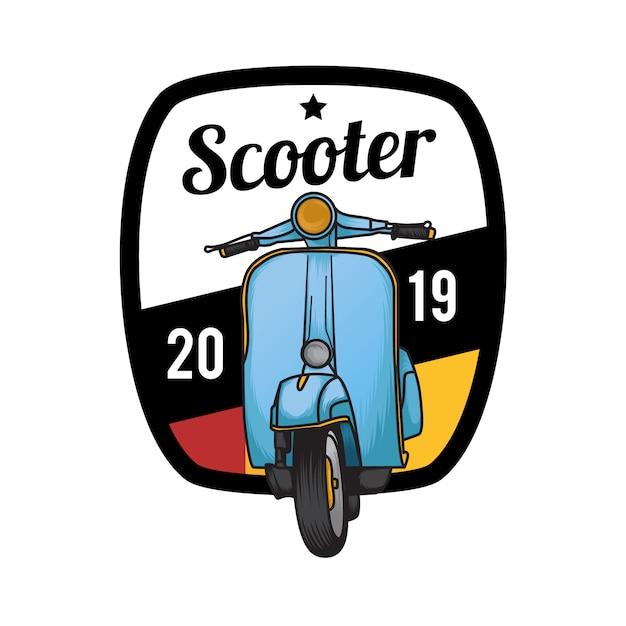 Emblem badge scooter Premium Vector