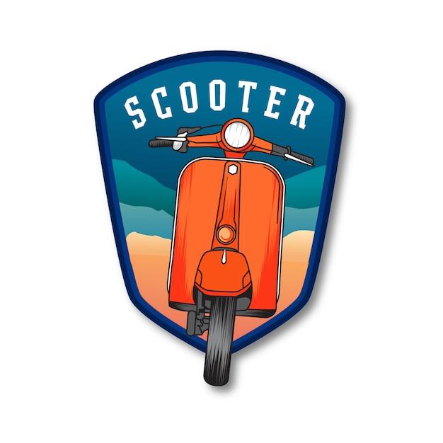 Emblem badge summer scooter Premium Vector