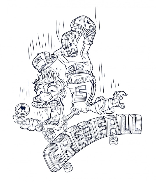 Emblem of a guy falling from a skateboard Premium Vector
