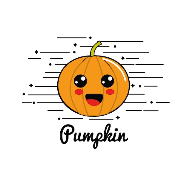 Emblem kawaii happy pumpkin vegetable icon Premium Vector