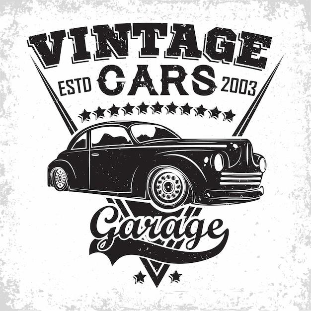 Emblem of muscle car repair and service organisation, retro car garage print stamps Premium Vector