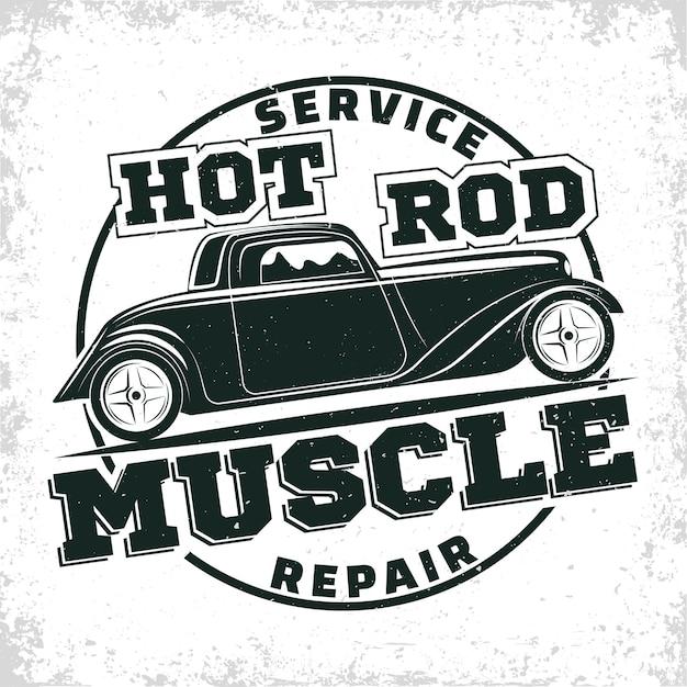Emblem of muscle car repair and service organisation Premium Vector