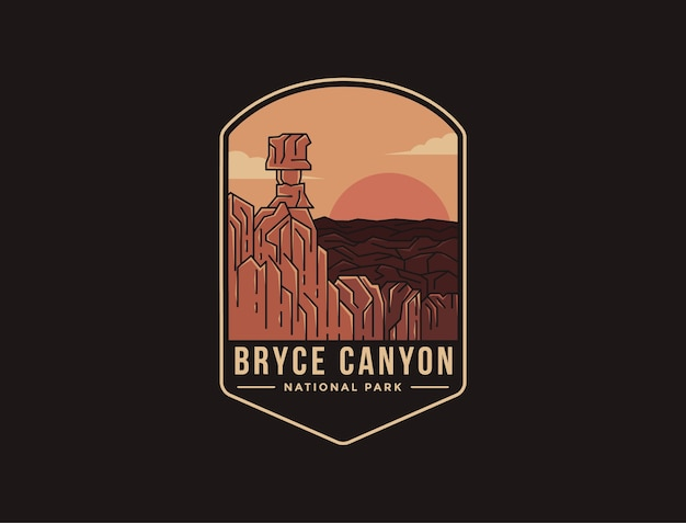 Emblem patch logo illustration of bryce canyon national park Premium Vector