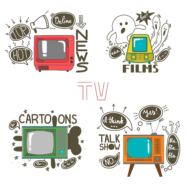 Emblem set for cartoons news films talk shows Premium Vector