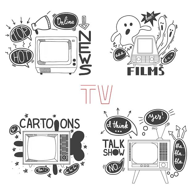 Emblem set for cartoons news films talk shows Premium Vector