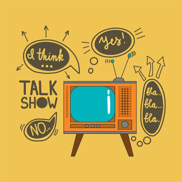 Emblem for talk shows in the doodle style Premium Vector