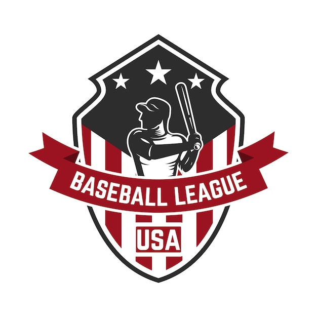 Emblem template with baseball player.  element for logo, label, emblem, sign.  illustration Premium Vector